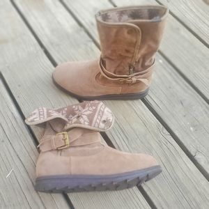 Mukluks Brown Faux Suede Foldover Sweater Bootie 7
